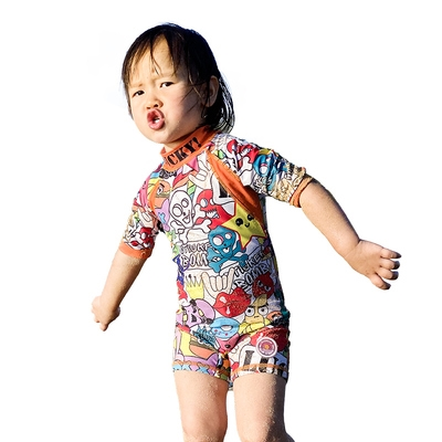 You mother preferred one-piece swimsuit for boys and girls, small and medium-sized children's sunscreen and breathable swimwear 1-7 years old swimwear with short sleeves