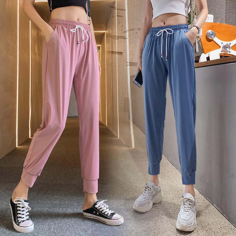 速干运动裤女宽松束脚2020新款春夏季薄款百搭显瘦九分冰丝哈伦裤