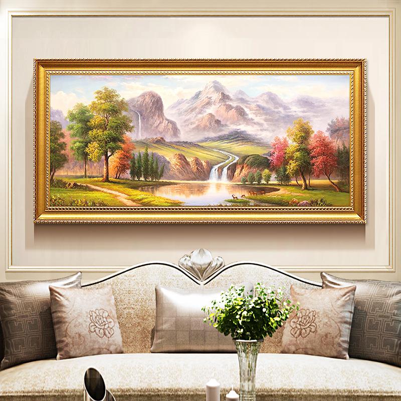 欧式手绘山水风景油画客厅装饰画美式玄关壁画餐厅挂画定制五只鹿