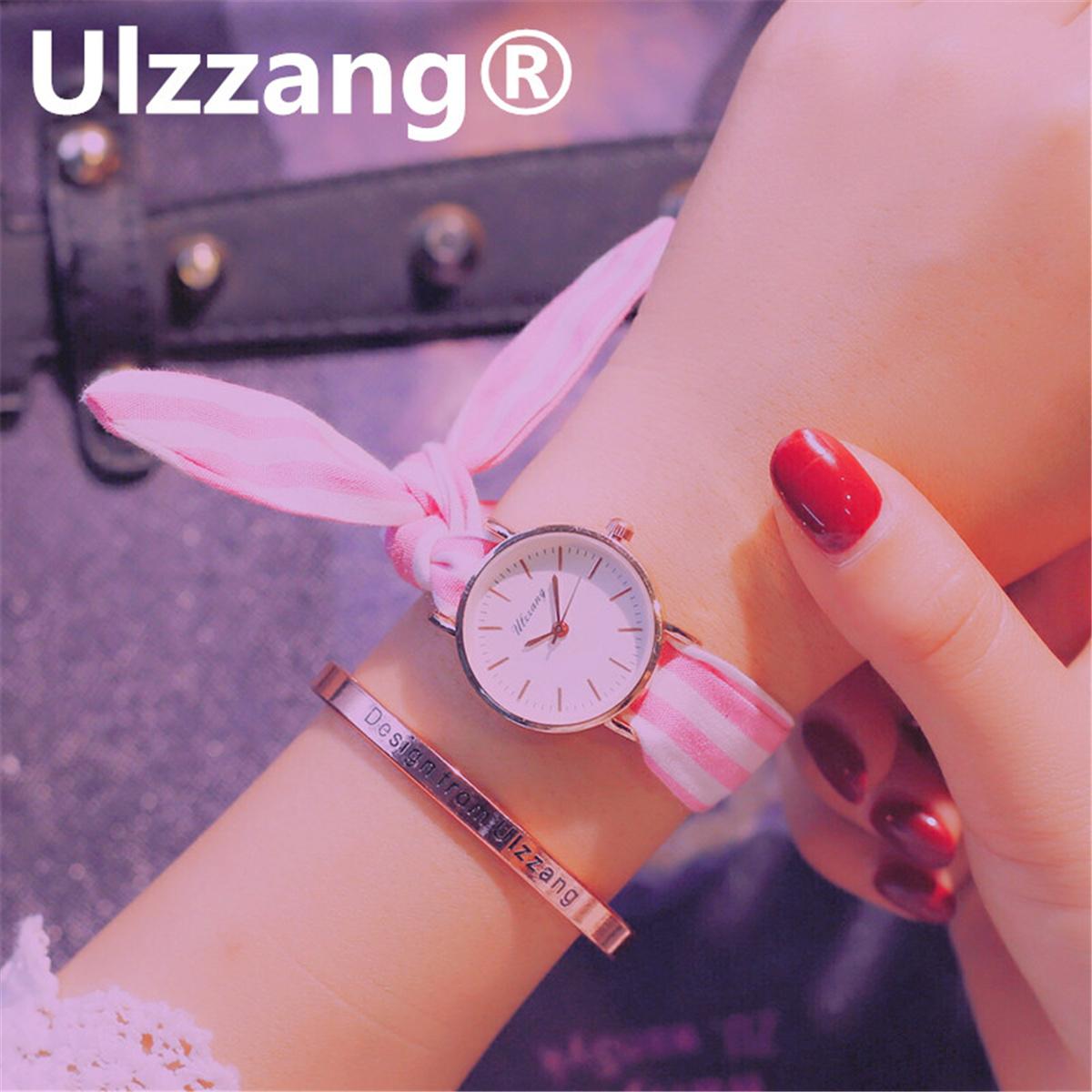 森系条纹布带绑带腕表 ulzzang 系带手表女韩版简约小清新学生潮流
