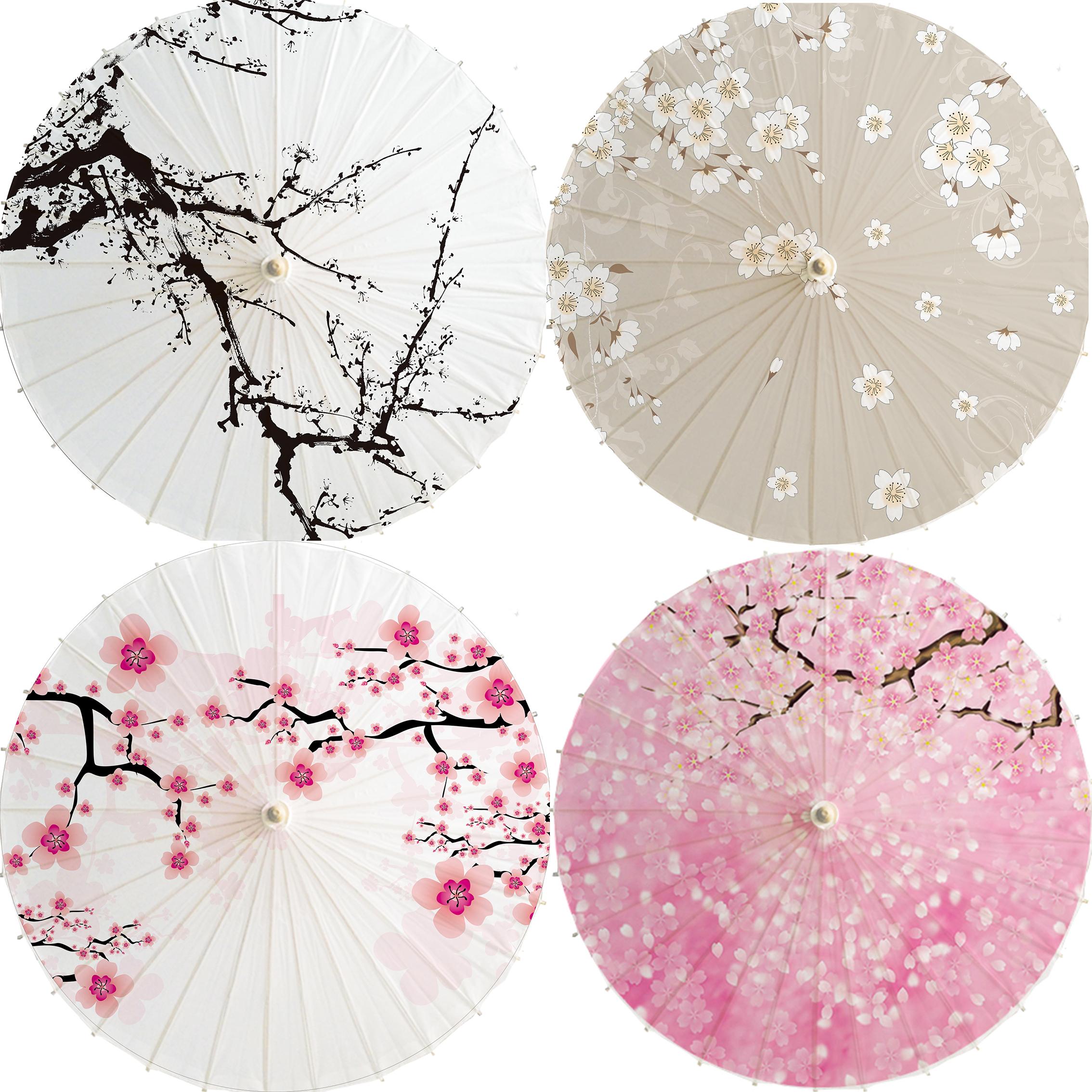 瀘州古典油紙傘防雨防晒 古代雨傘古裝傘 白色櫻花 舞蹈道具傘