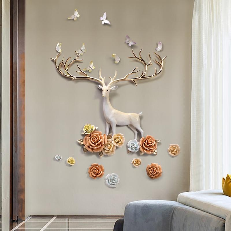 玄关墙面装饰竖版现代简约客厅沙发背景墙壁挂挂件创意立体墙饰鹿