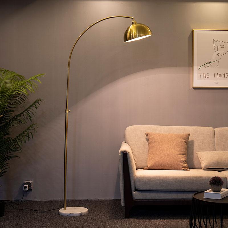 风轻奢创意金色茶几立式台灯 ins 沙发灯落地灯客厅卧室钓鱼灯北欧