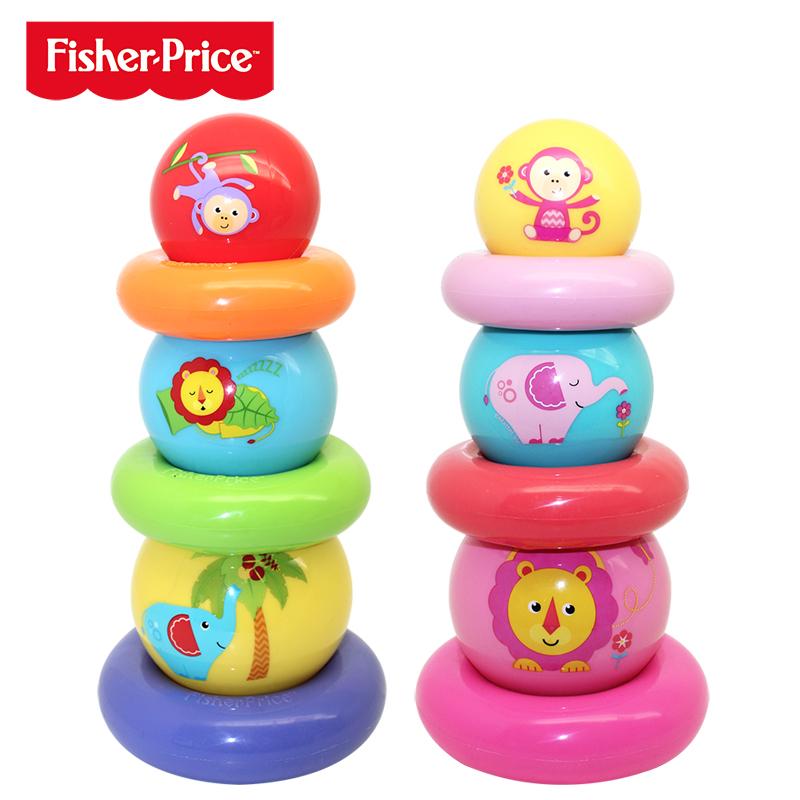 费雪彩虹叠叠球宝宝手抓球叠叠乐充气球套圈早教益智婴儿童玩具球