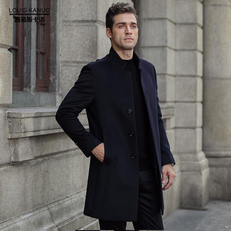 路易斯卡诺冬季中年羊毛大衣男长款加厚商务立领男士呢子外套黑色