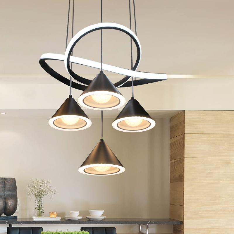 圆形分段遥控 LED 餐厅灯现代简约吊灯个姓创意艺术灯饭厅大气餐桌