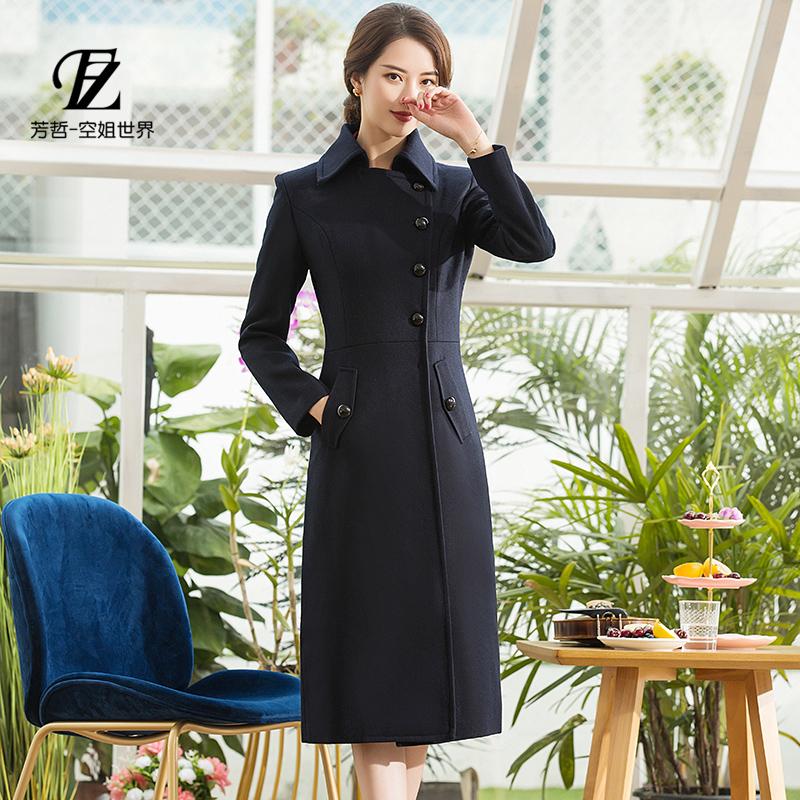 芳哲商务职业装女装迎宾礼仪空姐制服毛呢外套过膝加长款呢子大衣