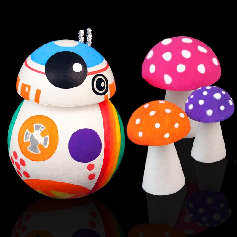 裕凰 幼儿园DIY美术手工制作材料 保丽龙半圆 泡沫半球 彩绘模型