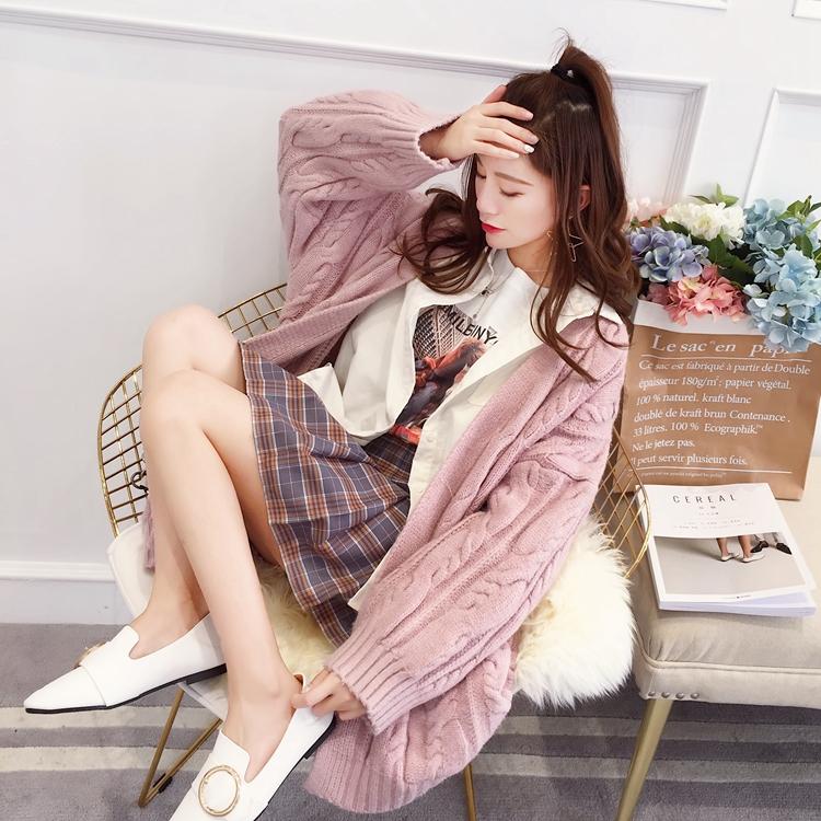 慵懒毛衣女秋冬季原宿外套中长款宽松春秋上衣甜美小清新针织开衫