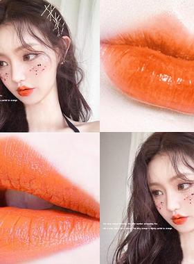 正橘色桔黄口红阿宝色口红珠光西柚橙色亮橘色南瓜人鱼姬珠光金粉