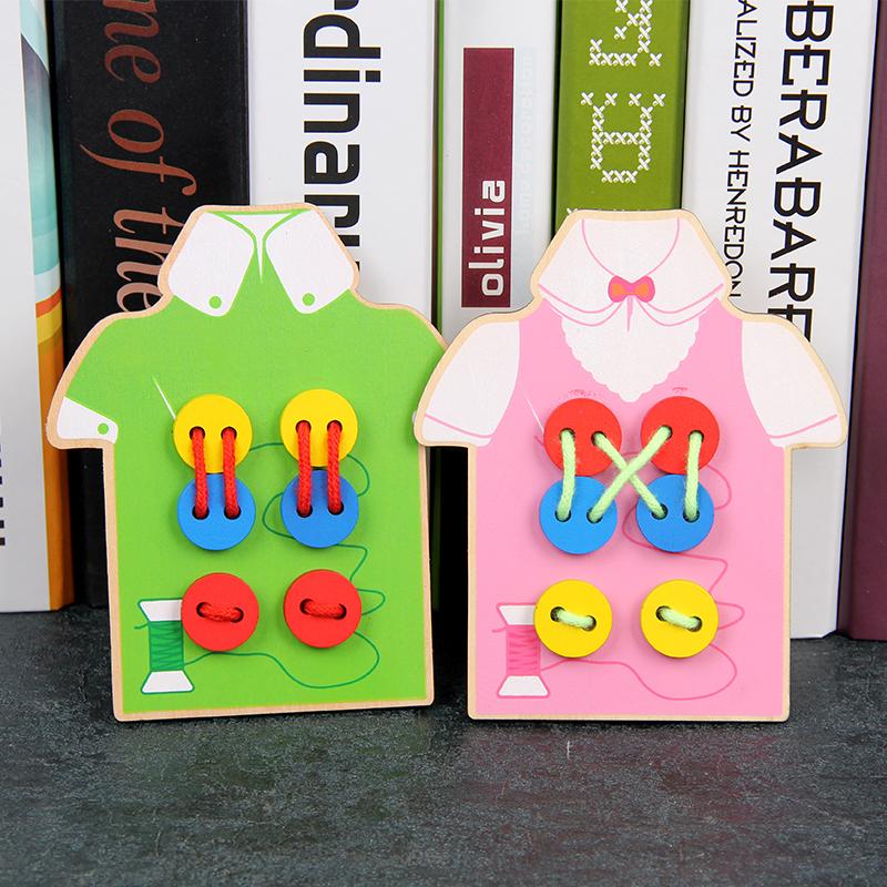 宝宝缝扣子穿衣服玩具 木制儿童益智早教动手穿线板亲子生活教具
