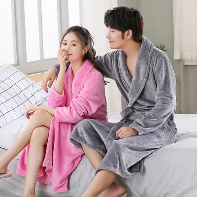 情侣珊瑚绒睡袍浴衣女冬加厚加长款法兰绒晨袍男士秋冬季睡衣浴袍