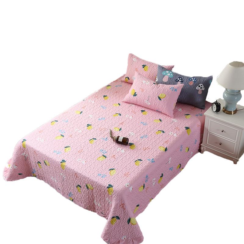 纯棉床盖单件三件套冬季全棉加厚夹棉加大床单保暖双人盖被绗缝被