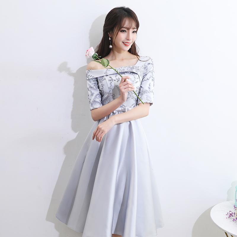 新伴娘礼服女2019新款韩版短款伴娘服姐妹团裙派对聚会毕业礼服裙