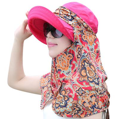 防晒帽子女夏遮脸防紫外线遮阳帽户外出游沙滩女士时尚百搭太阳帽 - 图3