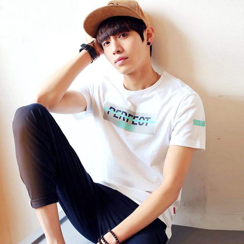 夏季男士短袖韩版修身圆领T恤个性字母印花简约百搭小清新半袖衫