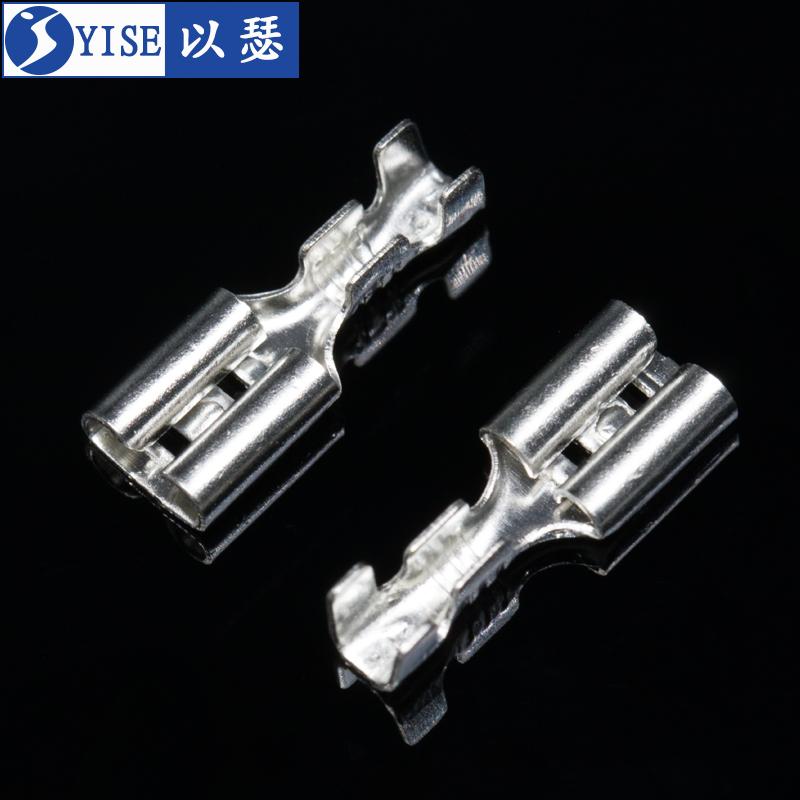 6.3插簧端子 护套 铜接插件插片母头插拔式冷压接线端子厚6.3插簧