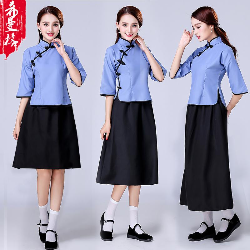 民国学生装女装五四青年装民国风复古毕业班校服古装演出服
