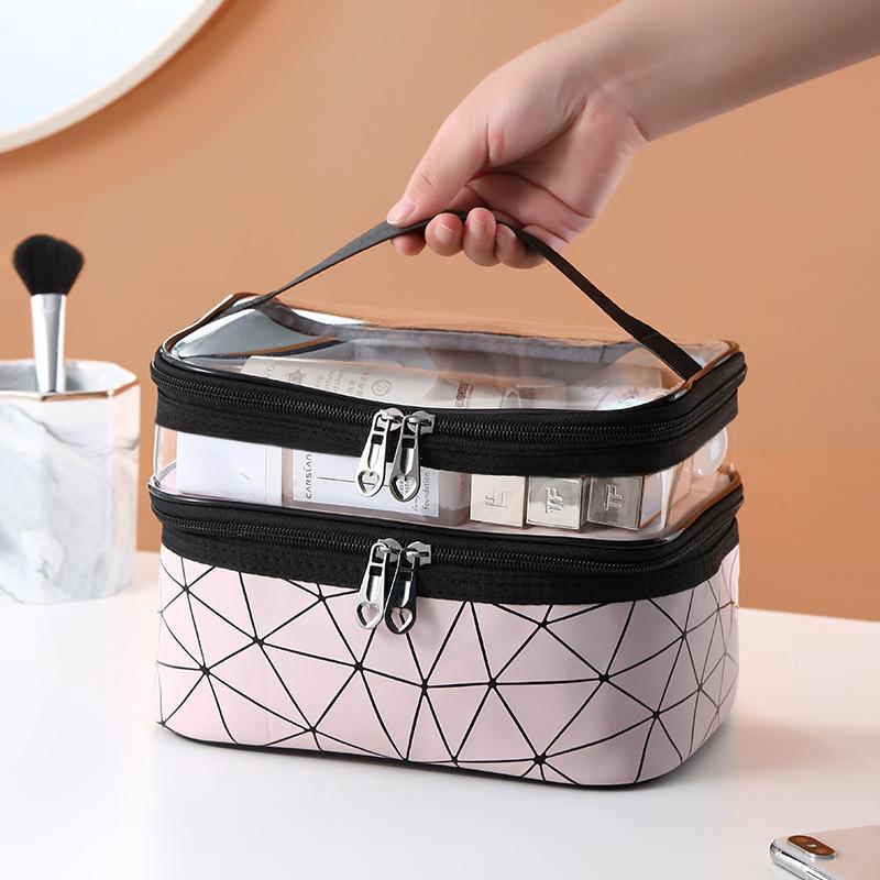 化妆包女ins风超火大容量多功能双层便携化妆品收纳包洗漱包防水优惠券