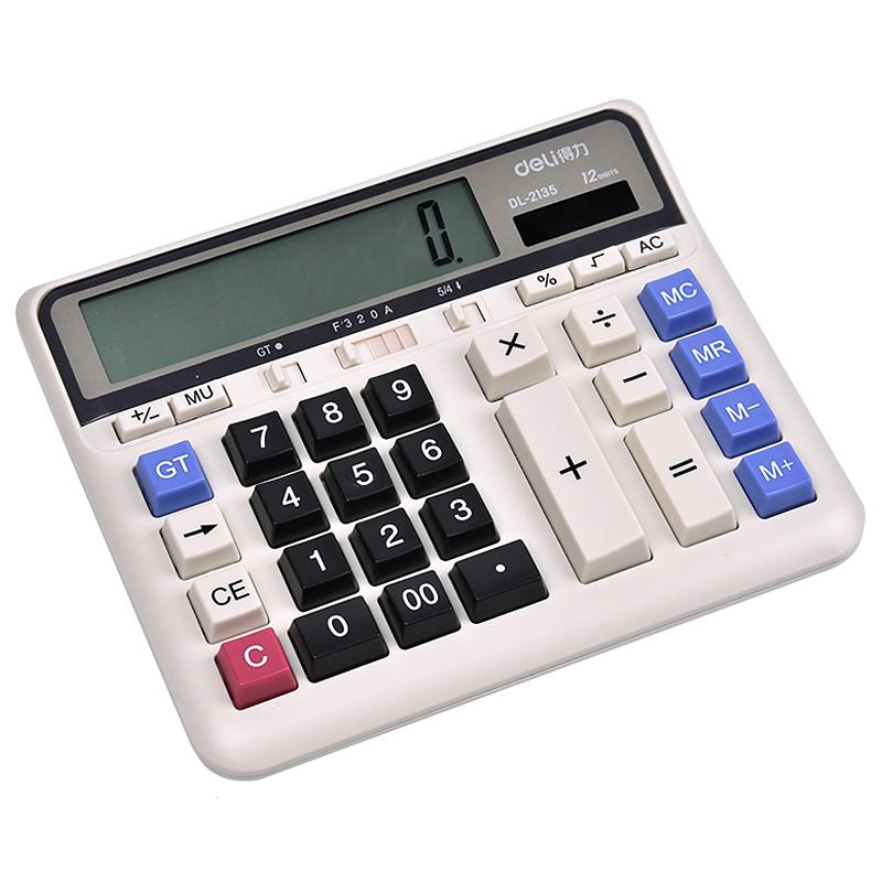 得力DL-2135计算器语音大按键太阳能银行财务会计专用计算机办公用品大号计算器多功能大屏12位显示键盘按键