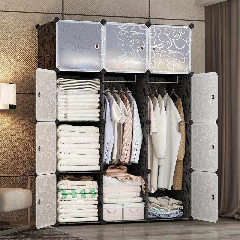 简易衣柜布衣柜组装钢架单人儿童储物收纳柜子塑料简约现代经济型