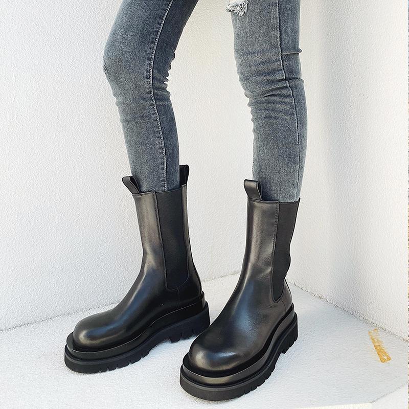 冬季新款暗黑英伦马丁靴女显瘦中筒机车靴真皮厚底切尔西靴女 2019