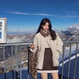 范智乔 仿皮毛一体羊羔毛外套女秋冬皮衣加绒加厚时尚套装