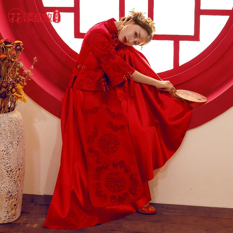 秀禾服新娘2019新款红色婚纱敬酒礼服中式婚纱结婚改良旗袍龙凤