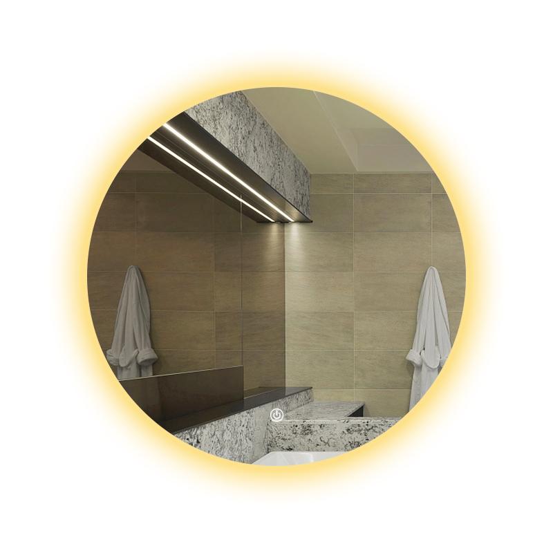 灯镜洗手盆圆形壁挂卫浴镜智能卫生间浴室镜子 LED 圆镜背光 nolsia