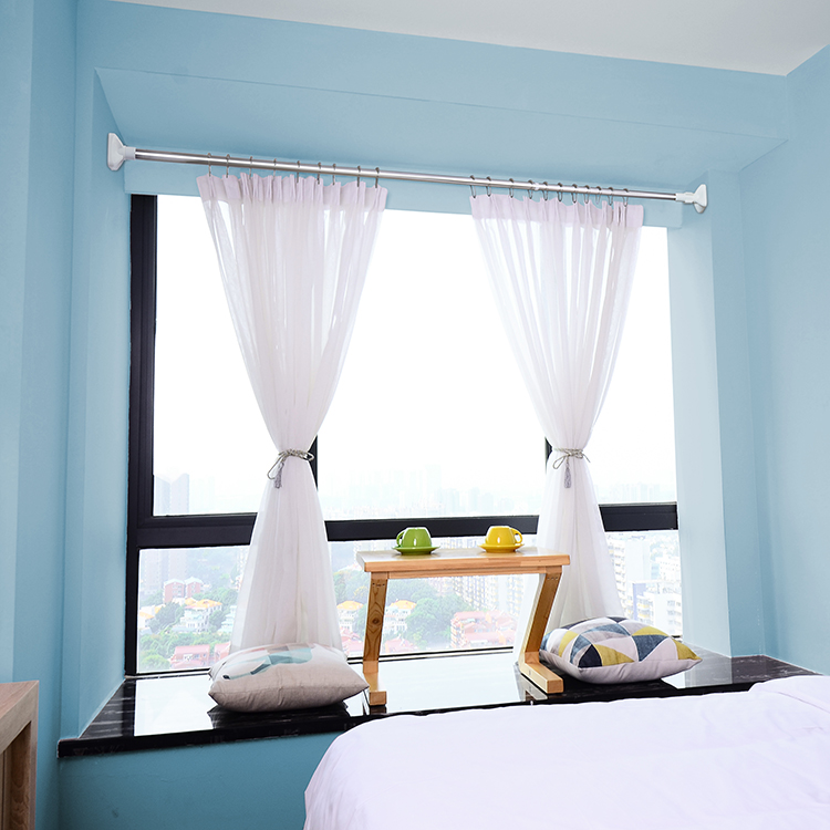免打孔浴室浴帘杆不锈钢伸缩杆窗帘拉伸撑杆门帘杆晾衣杆直杆型