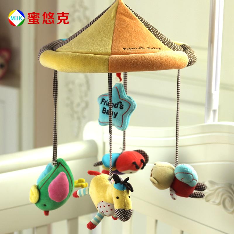婴儿床铃玩具音乐毛绒床铃宝宝布艺床铃床挂新生儿八音盒旋转床铃