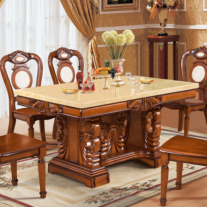 福尊 大理石餐桌长方形黄玉餐厅欧式实木雕花橡木餐桌椅组合餐台