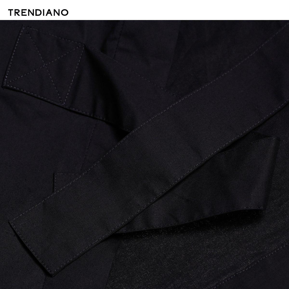 3JI2013070 男装夏装宽松中长款棉质套头短袖衬衫 TRENDIANO