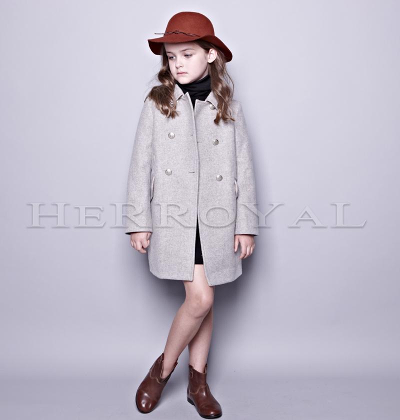 HERROYAL19秋冬女童优雅气质灰色羊毛长款大衣外套加厚夹棉 亲子