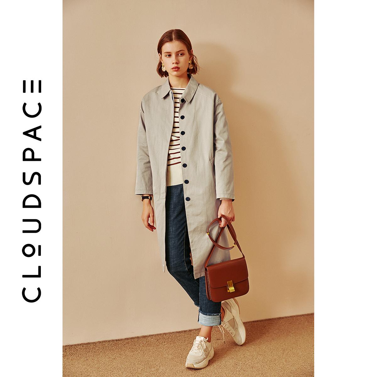 CLOUDSPACE云上生活女装秋装气质宽松风衣女中长款小个子流行外套