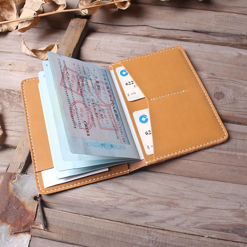手工真皮护照夹护照套护照包多功能复古牛皮证件收纳卡包免费刻字