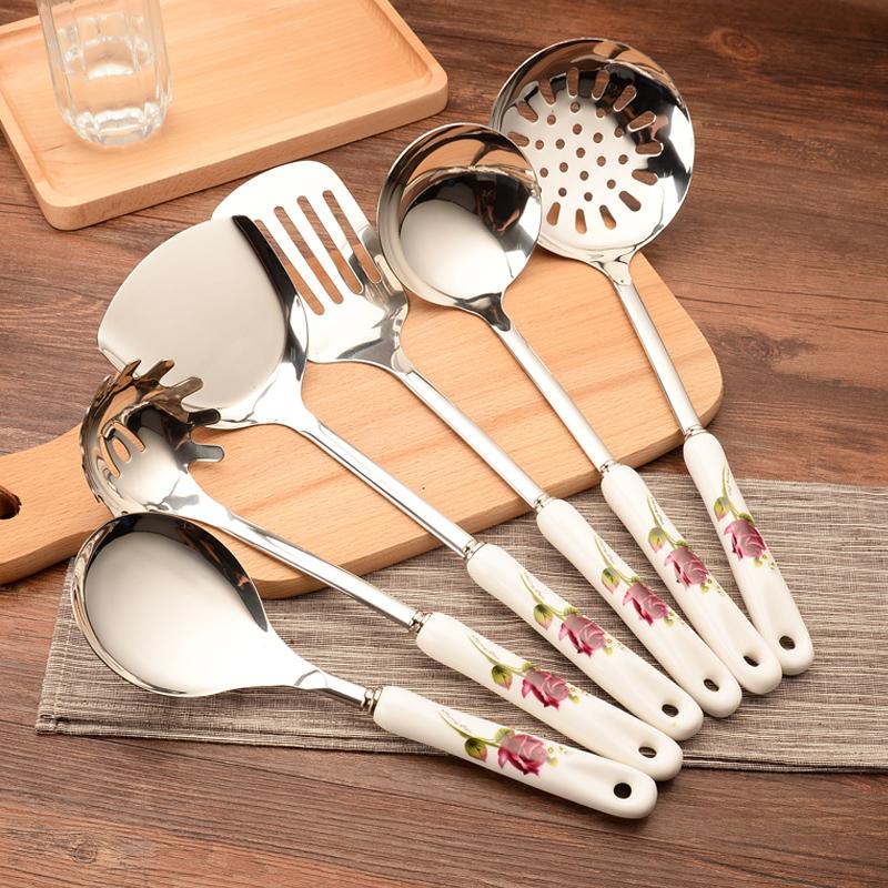 不锈钢厨具七件套锅铲套装厨房炒菜铲子汤勺漏勺家用全套烹饪炊具