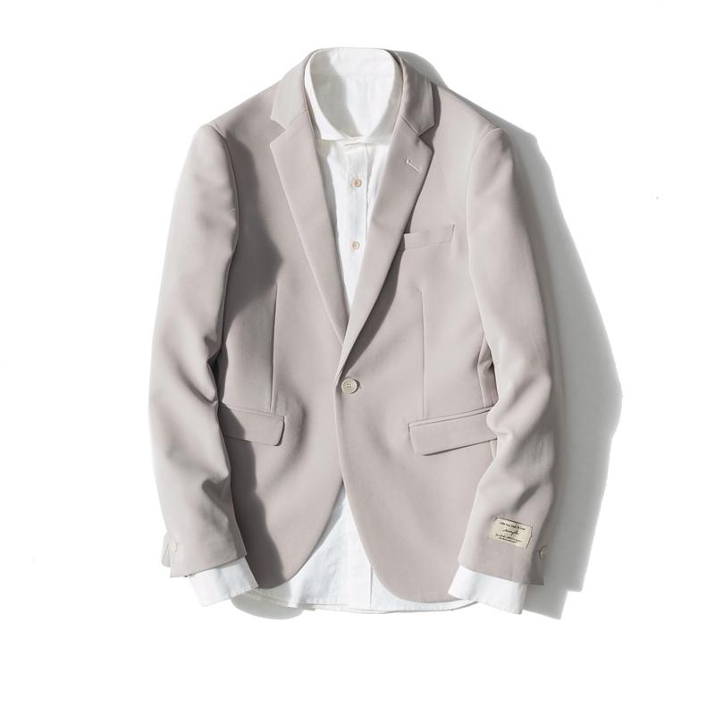 米白色西服 男装结婚薄款修身收腰便西上衣男外套纯色小西装男