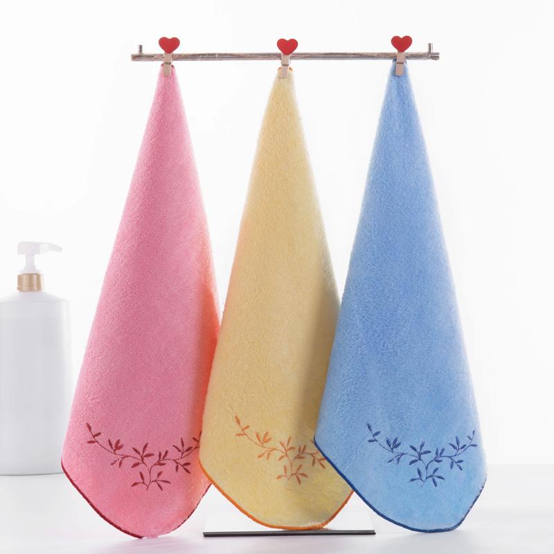 3条装洁丽雅竹浆纤维方巾女毛巾幼儿园小毛巾洗脸家用柔软吸水