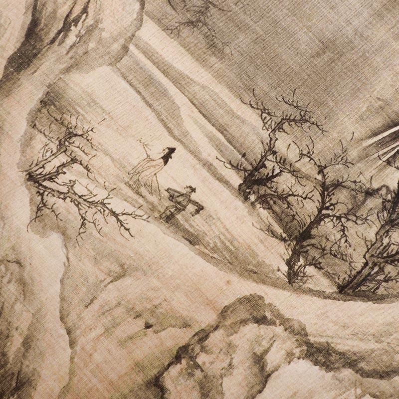 宋代山水畫王詵漁村小雪圖真跡復制原大高清仿古名畫臨摹裝飾畫芯