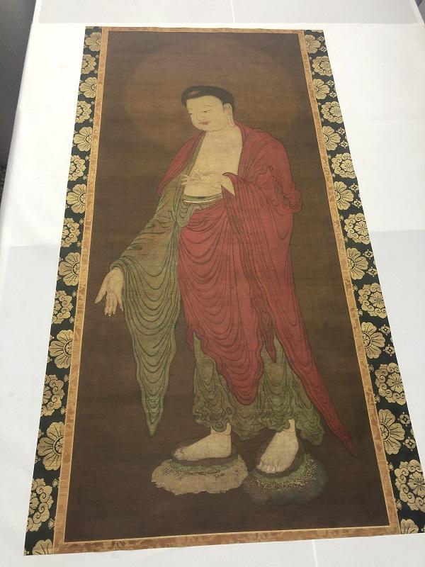 宋代古画佛像 阿弥陀佛图 画芯未装裱古画微喷真迹复制品古代佛画