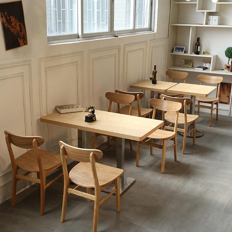 实木甜品快餐店餐桌椅