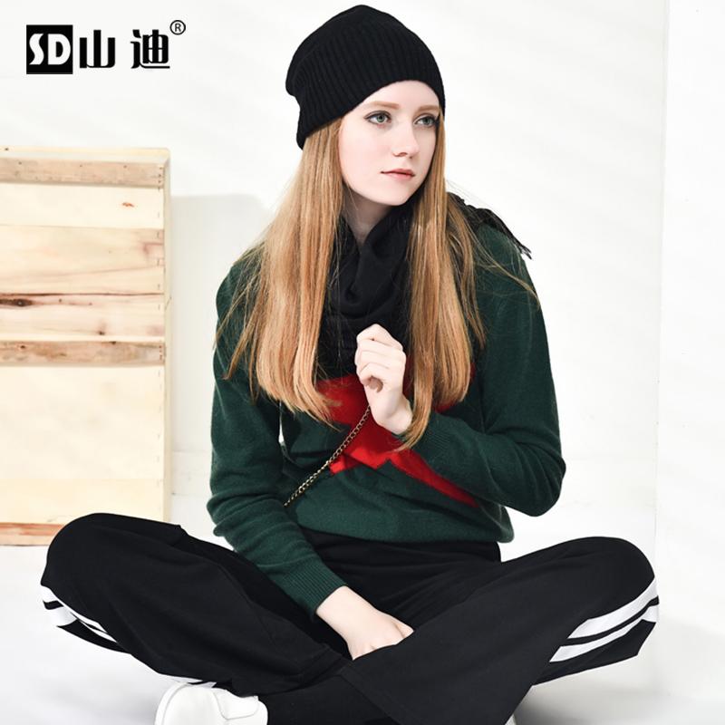山迪纯羊绒衫女2021品牌春装新款欧货时尚五星拼色套头毛衣打底衫主图