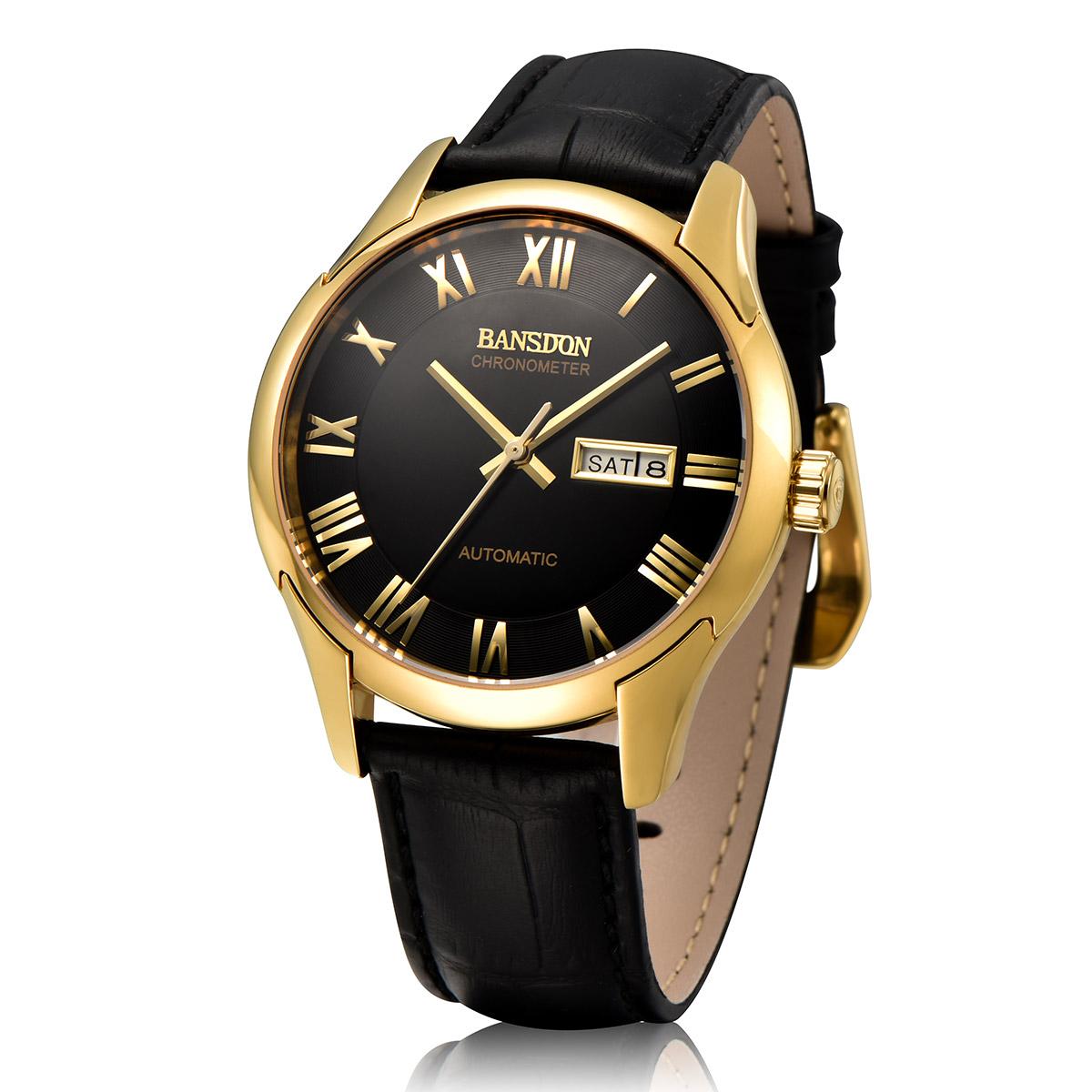 皮带手表男士全自动机械表夜光防水精钢金色金表男表
