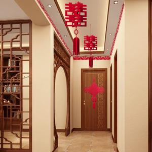 创意立体喜字小灯笼挂饰走廊场景布置无纺布定制中式装饰结婚用品