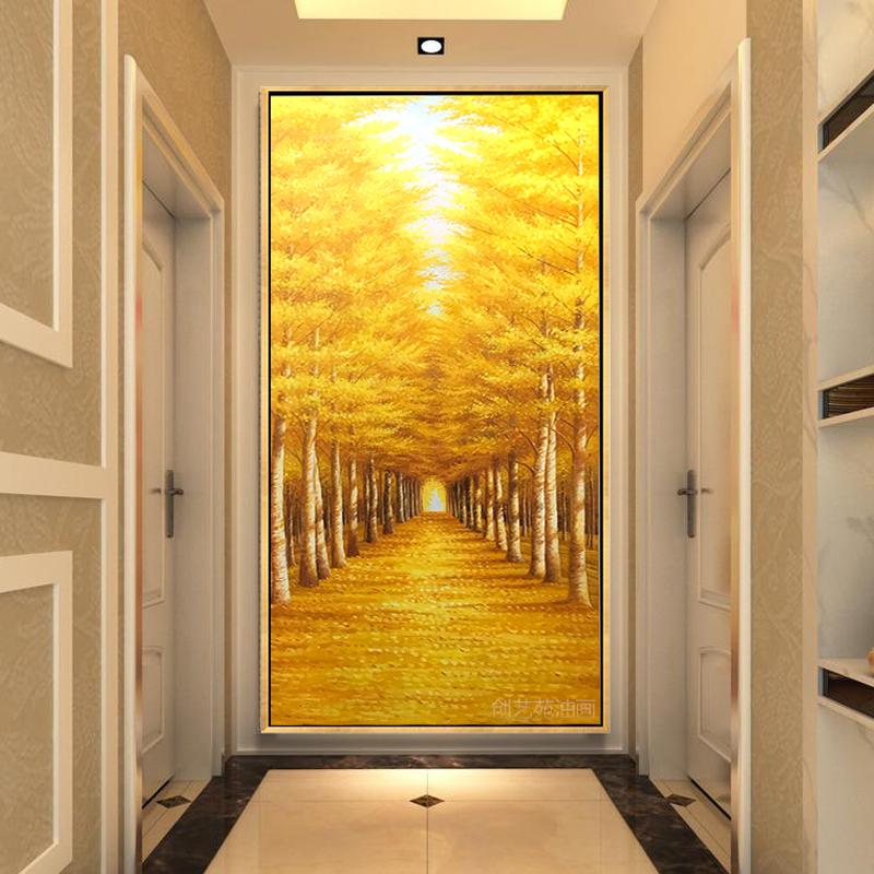 滿地黃金大道玄關裝飾畫豎版過道現代簡約掛畫路路通手繪風景油畫