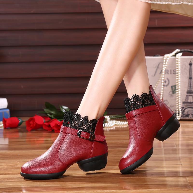 舞皇達新款廣場舞蹈靴真皮軟底舞蹈鞋女士跳舞鞋高幫鞋短靴