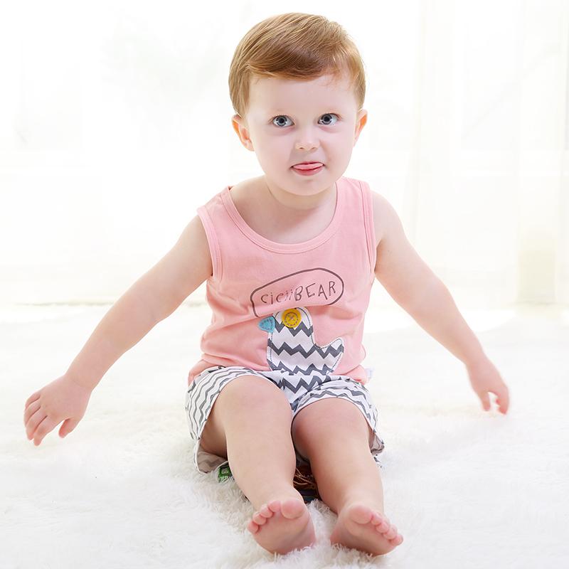 齐齐熊婴幼儿夏装宝宝无袖套装婴儿衣服男女童卡通纯棉背心两件套