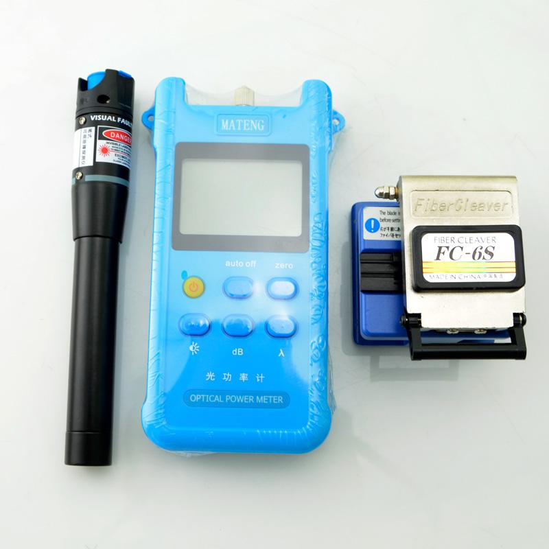 FTTH光纤冷接工具套装工具箱光功率计光纤切割刀红光笔工具包包邮