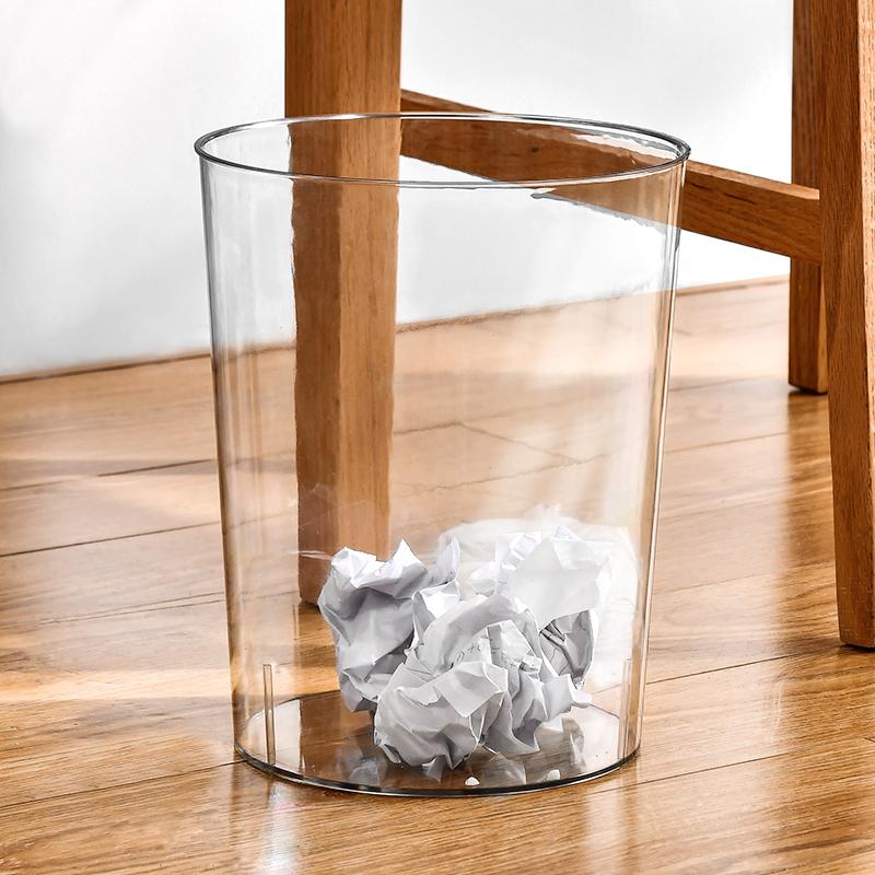 创意简约透明垃圾桶家用厕所卫生间大号客厅轻奢厨房用卧室办公室
